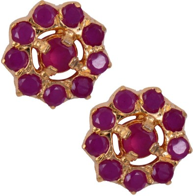 Mahaveer Pearls Striking Ruby Brass Stud Earring