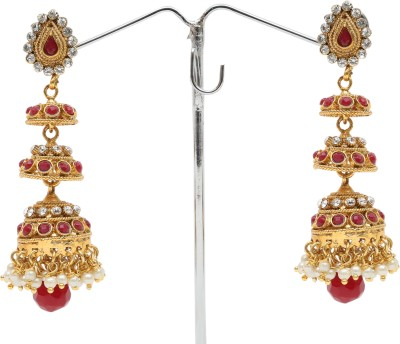 Donatella Spring Sparkle Cubic Zirconia, Agate, Pearl Brass Jhumki Earring