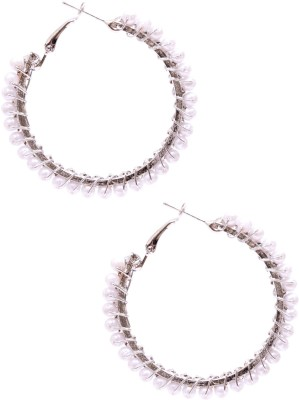 Rubena Crackled Cubic Zirconia Metal Hoop Earring