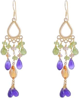 Jewel Paradise Peridot, Amethyst, Citrine Sterling Silver Chandelier Earring
