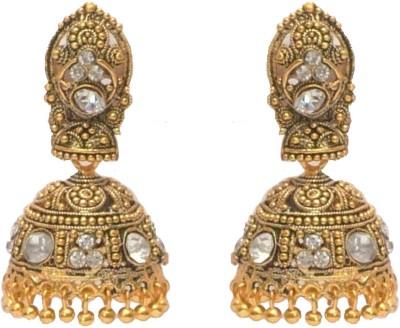 I Dream Works White Stone Brass Jhumki Earring