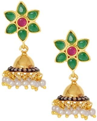 the jewelbox Cute Flower Brass Jhumki Earring