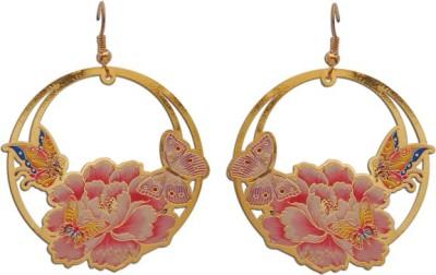 The Fine World Nature inspired golden bali style Zircon Brass Dangle Earring