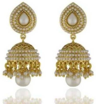 Happyshoppi New Fashion Pearl Brass, Copper Jhumki Earring