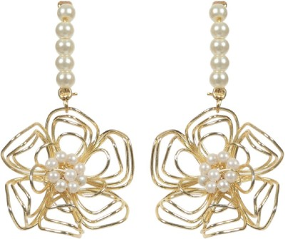 Envy Studded Pearl Yellow Gold Drop Earring