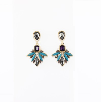 Rudrani Rhinestone Leaf Alloy, Crystal Drop Earring