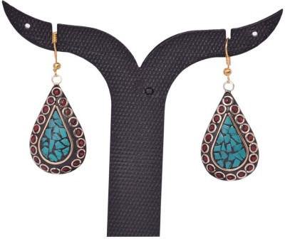Tradition India TI446 Handmade Designer Stone Studded Traditional Lac Worked Brass Drop Earring