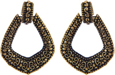 Pankh Antique Golden Triangle Alloy Huggie Earring