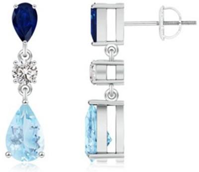 Angel Jewels Designer Sapphire Sterling Silver Drop Earring