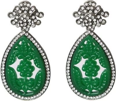 Prystal Indian Green Carving Alloy Drop Earring