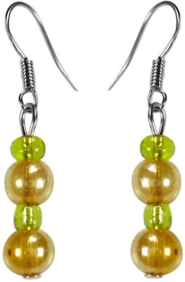 Crystals & Beads Gold Round Crystal & Emerald Green Colour Crystal Acrylic, Glass, Crystal Dangle Earring
