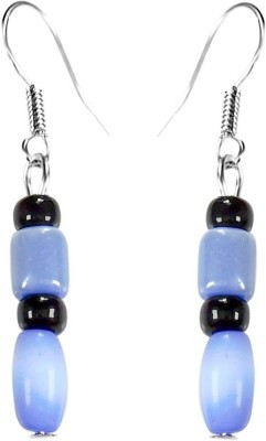 Crystals & Beads Sapphire Blue Colour Barrel Cats Eye & Blue Bead & Onyx Black Moonball Acrylic, Glass, Crystal Dangle Earring