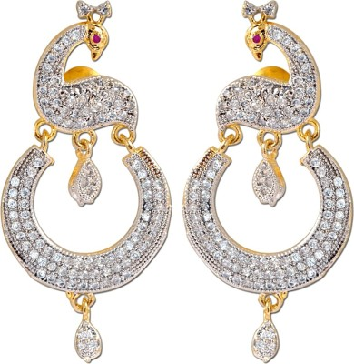 Enzy Peacock Designer Alloy Chandbali Earring