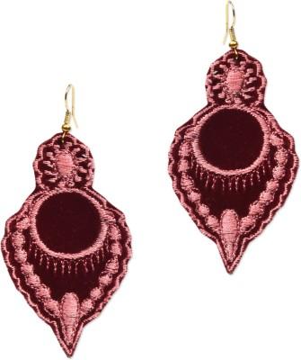 Supriya Designer Embroidery Maroon Fabric Dangle Earring