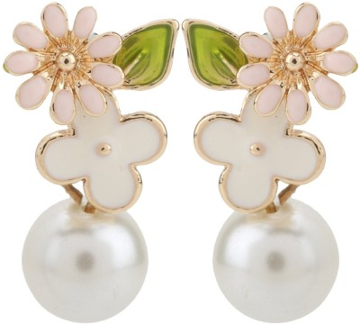 Jewel Touch Fresh Pearl Decorated Flower Design Alloy Drop Earring