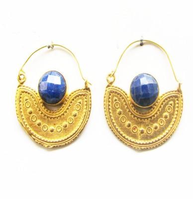 Gharaz semi precious Gold plated Sapphire Brass Hoop Earring