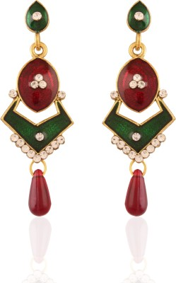 AccessHer Reddish Green Abstract Brass Drop Earring
