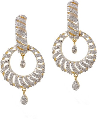 Styleos Spiral White Gala Cubic Zirconia Alloy Drop Earring