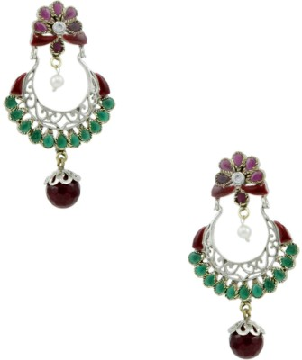 Orniza Victorian Earrings in Red & Green Color and Victorian Polish Brass Chandbali Earring