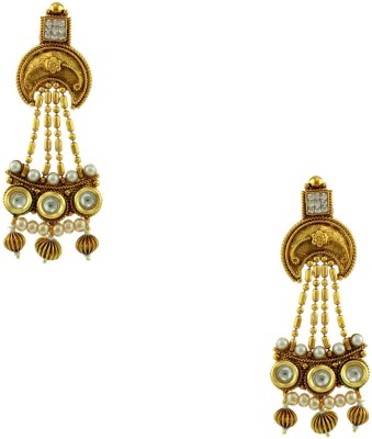 Orniza Chequered Polki Earrings in Clear Color and High Gold Polish Brass Dangle Earring