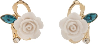 RIANZ New Ceramic White Colored Flower Alloy, Crystal Stud Earring