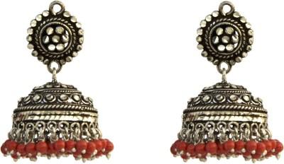 Aashirwad Orange Hook Silver Jhumki Earring