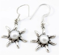YugshaJewels Sparkling White Pearl Pearl Sterling Silver Dangle Earring