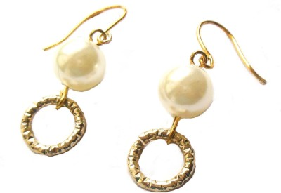 Bohocraft Treasures Elegant Ivory Pearl, Light Gold Textured Circle Metal Dangle Earring