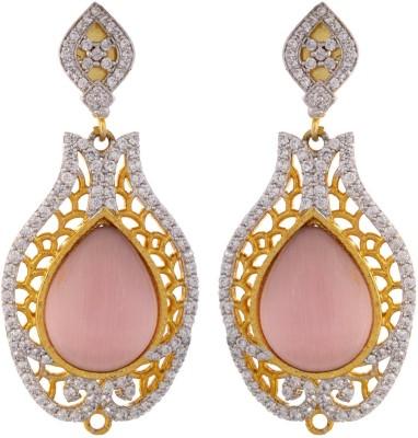 Parshwa Jewellery Pink Designer Brass Drop Earring