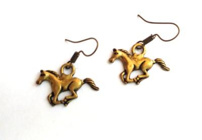 SrinidhiHandiCreations Horse Brass Dangle Earring
