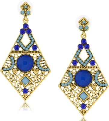Spargz Funkky Diamond Shape Blue Alloy Chandelier Earring