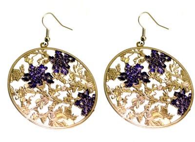 Krishna Mart A Pair Of Indian White Metal Floral Earrings Metal Dangle Earring