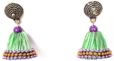 Craftworks silk thread jimuka Beads Silk Dori Jhumki Earring