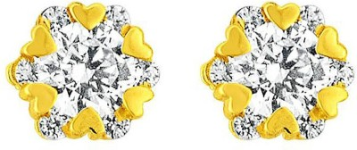 JPearls Exceptional Cubic Zirconia Gold Stud Earring