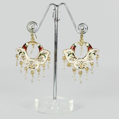 Artisan White Floral Enamel Metal Drop Earring