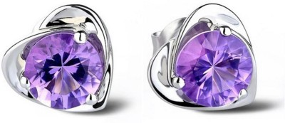 iSweven Fashion Purple Crystals Silver Love Heart For Girls Wedding Jewelry Alloy Stud Earring