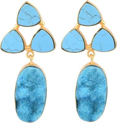 The Kewl Korner Druzy Crystal Brass Dangle Earring