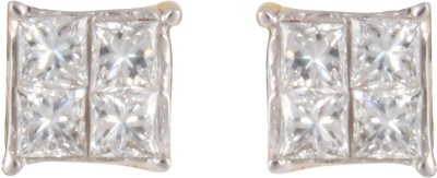 Gothis Princes Cut Solitair Gold Stud Earring