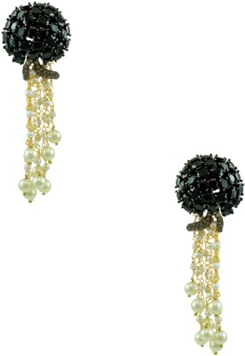Orniza Exclusive Victorian Black with Multiple Pearl Strings Brass Dangle Earring