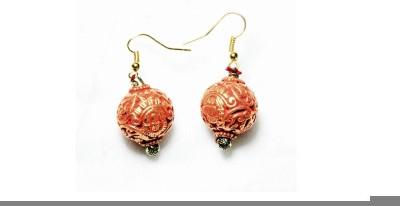 Karukala Saffron Ball Alloy Dangle Earring