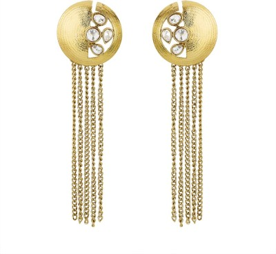 BeBold Long Kundan Antique Brass Drop Earring