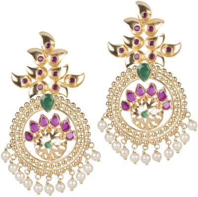 Mehtaphor Kajri_2 Crystal Brass Chandbali Earring