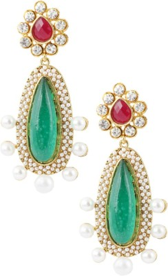 Graykart Maroon & Green Pota Resin Austrian Stone Pearl Gold Plated Alloy, Zinc Drop Earring