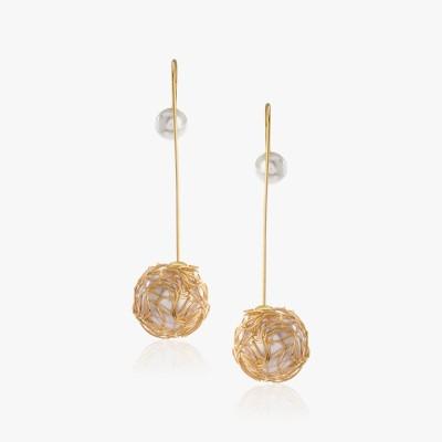 Shamoda Trendy Pearl Gold Stick Metal Dangle Earring