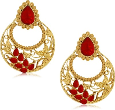 Spargz Ethnic Blossom Hanging with AD Stone Alloy Drop Earring