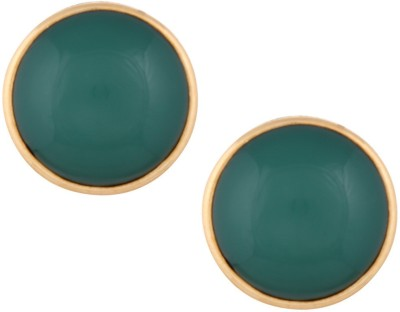 Gold & More Green Alloy Stud Earring