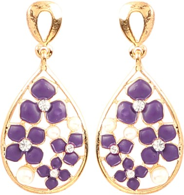 Jewel Funk Gold and Purple toned floral earrings Alloy Drop Earring