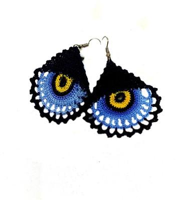 Saaheli Blue and Dark Blue / Luck Evil Eye Fabric Dangle Earring