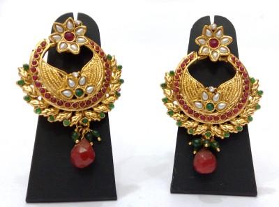 Womaniya Golden chandbali Alloy Chandelier Earring
