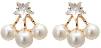 Young & Forever Shining Star Princess Ear Jackets Alloy, Mother of Pearl Stud Earring